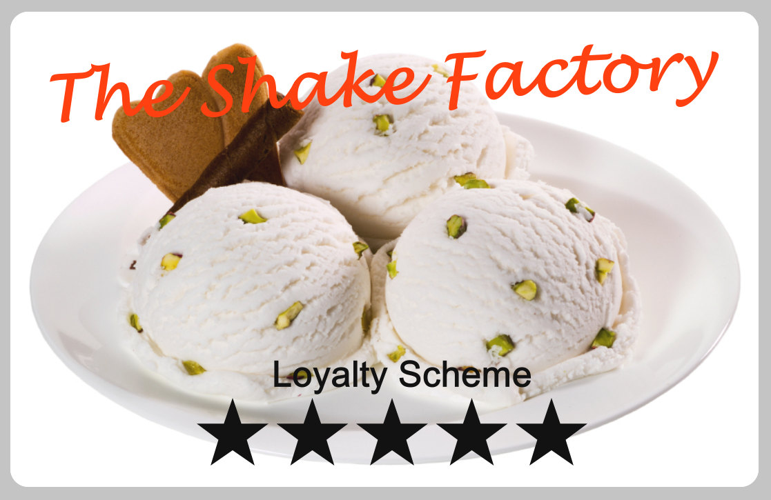Plastic loyalty card printing | Reward Card design and print | Customer store card print service | Card example number 25